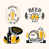 Happy international beer day icon and logo for decoration. Vector illustration with beer mug, beer barrel, pint glasses, beer bottle.