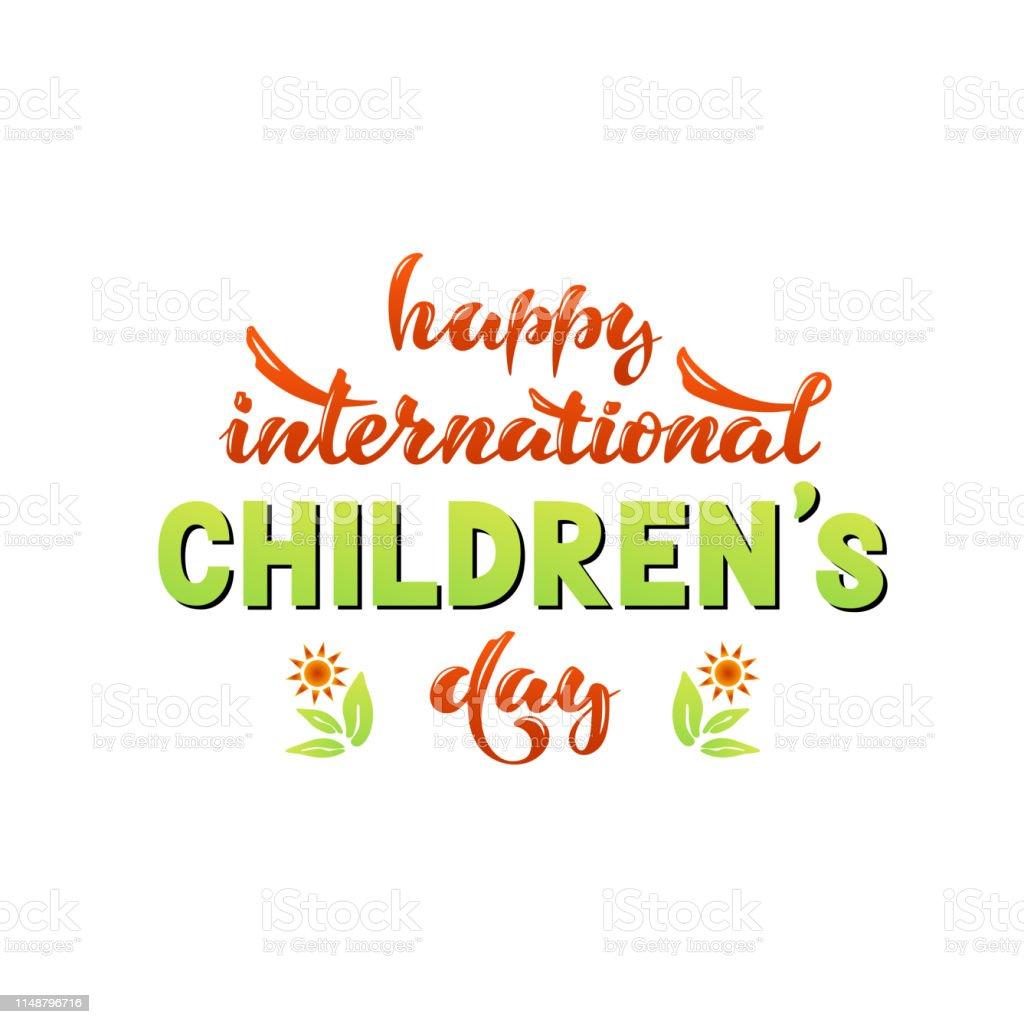 Vector illustration with handwritten phrase - Happy international...