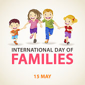 Celebrating the International Day of Families on 15 May annually with mother and father holding hands of their son and daughter running happily, reflecting the importance of family