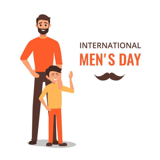 Glückliche International Männer Day.Dad mit seinem Sohn stehen. – Vektorgrafik