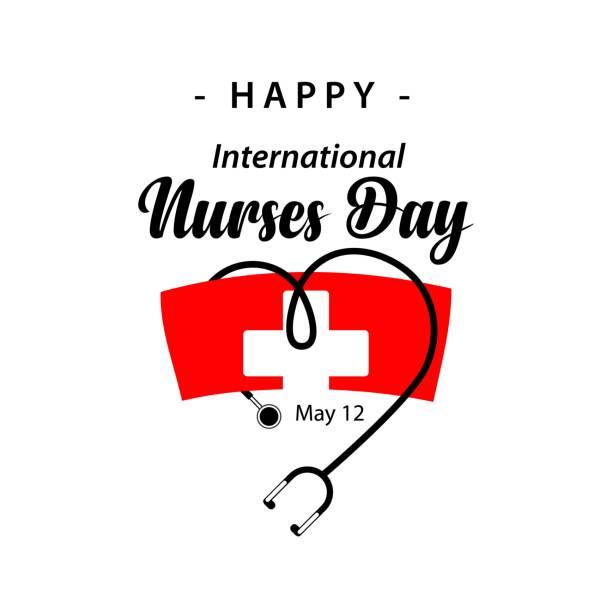glücklich international nurses day vektor-template-design - pflegekraft stock-grafiken, -clipart, -cartoons und -symbole