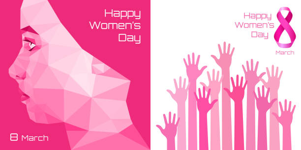 happy international womens day greeting card design. pink hands background for 8 march day. - international womens day stock illustrations, clip art, cartoons, & icons