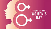 Happy International Women's Day. International Women's Day on March 8th flat design vector illustrations. Women's Month Vector templates for background, greeting card, poster, flyer, banner.