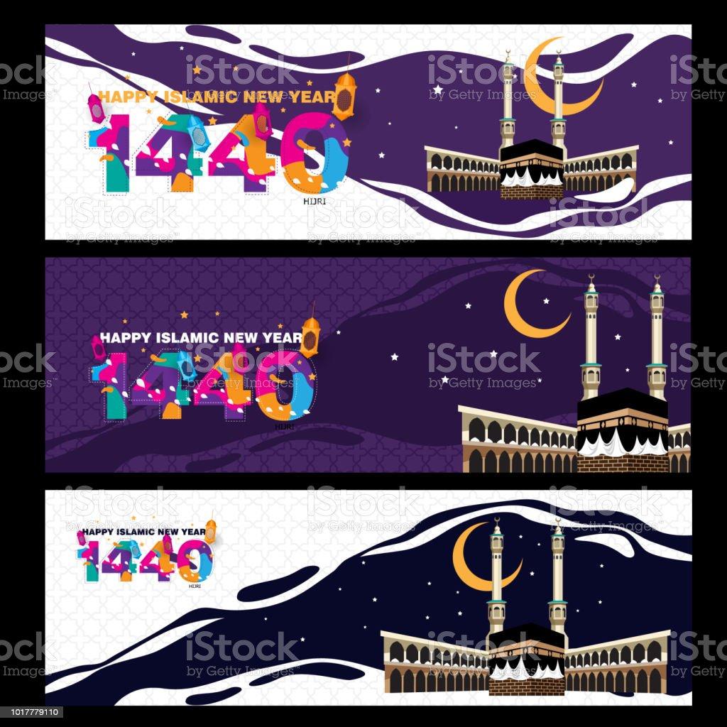 Happy islamic new year banner vector art illustration