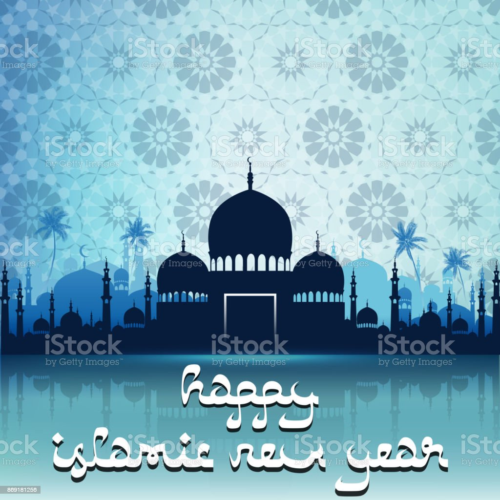 Happy islamic new year with silhouette mosque vector art illustration