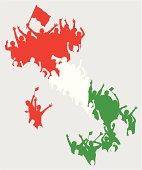 Happy Italian Fans in Shape of Italy Map.