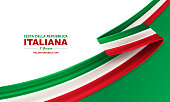 Italian republic day, 2th June, festa della repubblica Italiana, bent waving ribbon in colors of the Italian national flag. Celebration background.