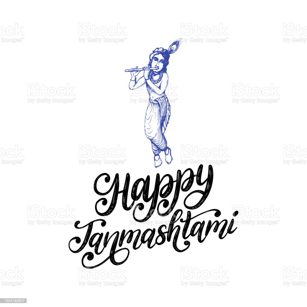 Happy janmashtami hand lettering sketch of young god krishna on happy janmashtami hand lettering sketch of young god krishna on white background vector altavistaventures Choice Image