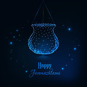 Happy Janmashtami, indian festival dahi handi celebration greeting card template. Futuristic glowing low polygonal dark blue background. Modern design vector illustration.