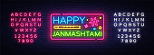 Happy Janmashtami vector greeting card neon. Modern trend design vector template. Greeting card for Krishna's birthday. Indian community festival Krishna Janmashtami. Editing text neon sign.