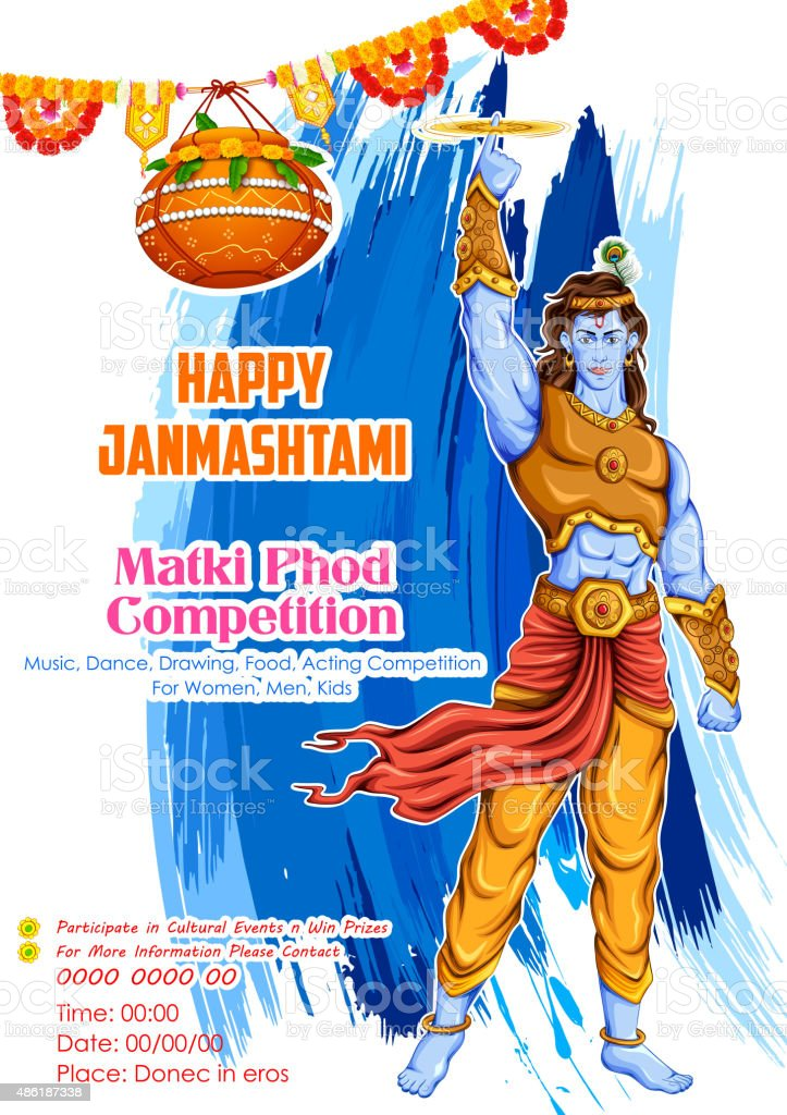 Happy Janmashtami vector art illustration