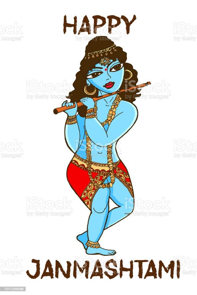 Happy Janmashtami Vector Illustration Of Lord Krishna Hand Drawn