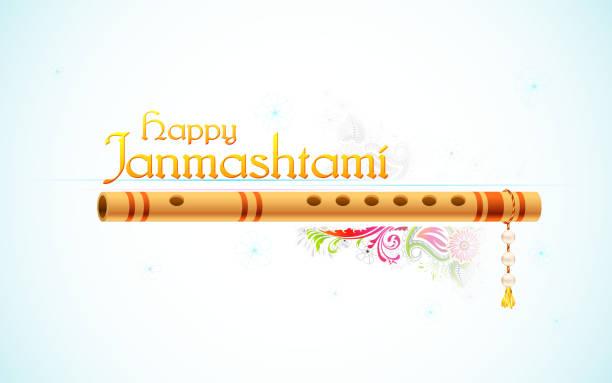 bildbanksillustrationer, clip art samt tecknat material och ikoner med happy janmasthami - flöjt