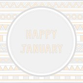 Happy January letter on hand drawn background.