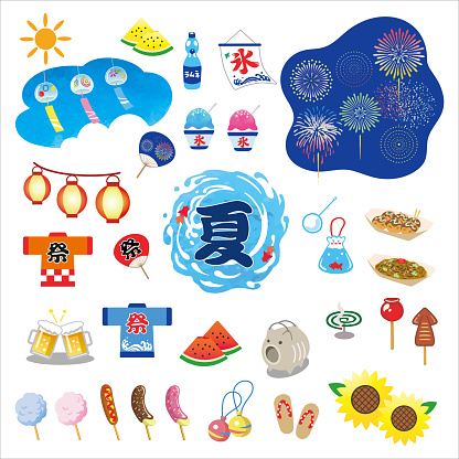 Happy Japanese summer illustration set