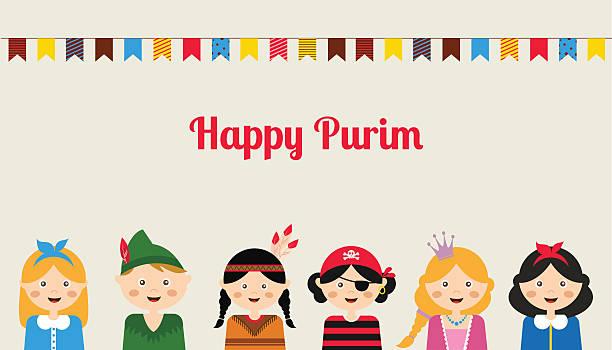 Happy jewish children in fancy dress Enjoy Purim Happy jewish children in fancy dress  Enjoy Purim peter pan stock illustrations