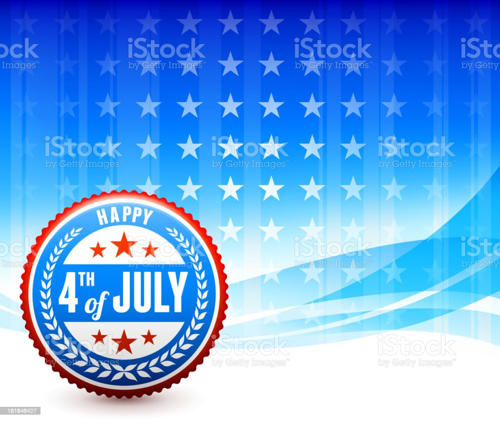 Happy July Fourth Badge Background royalty-free stock vector art