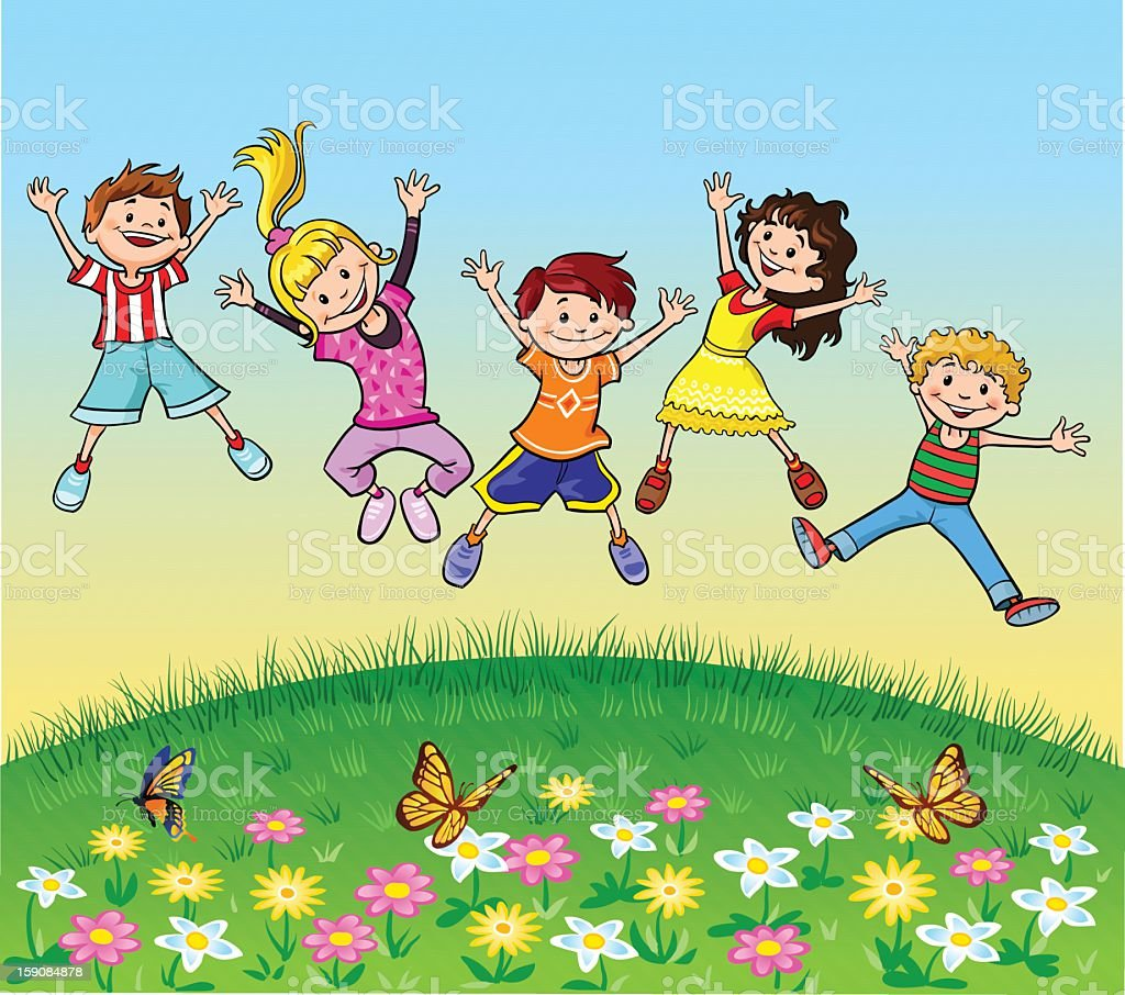 Happy Jumping Children royalty-free stock vector art