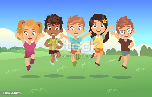 Happy jumping kids. Children holiday cartoon panorama childrens summer meadow park teenagers jump dancing together vector background