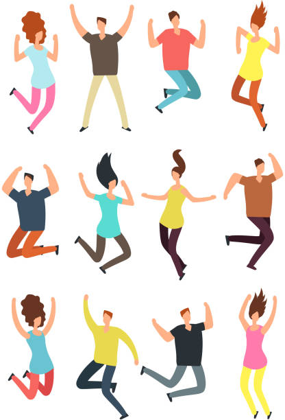 Happy jumping people. Excited man and woman in jump. Flying persons vector characters isolated Happy jumping people. Excited man and woman in jump. Flying persons vector characters isolated. Illustration of man woman jumping, happy and cheerful jumping stock illustrations