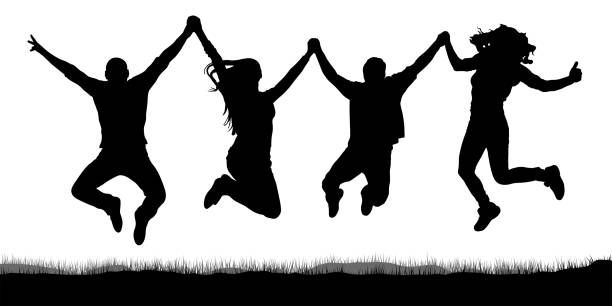 happy jumping, people friends, holding hands silhouette - jumping stock illustrations