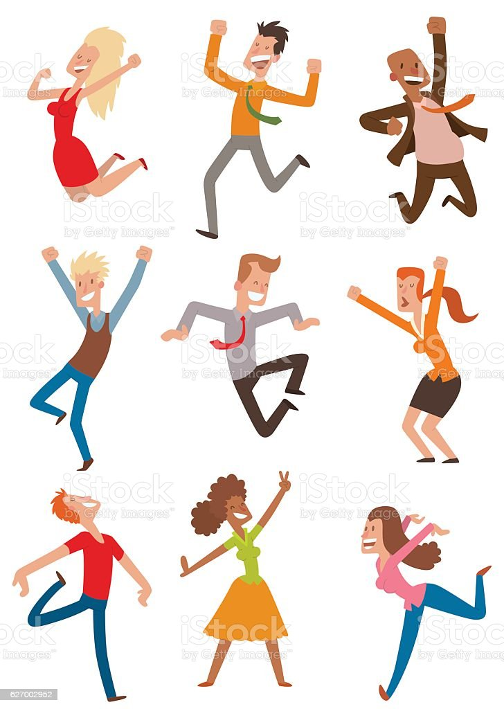Happy jumping people vector set. vector art illustration