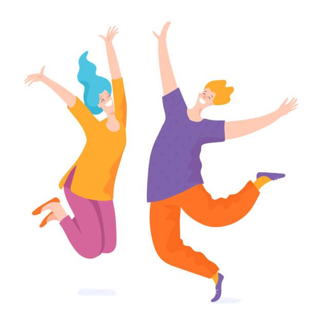 ilustrações de stock, clip art, desenhos animados e ícones de happy jumping people who reach the goal. - alegria