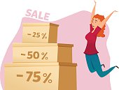 Happy jumping woman. big sales, discount. Vector illustration. isolated. Shopping day