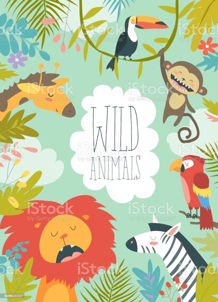 フレームの背景を作成する幸せなジャングルの動物 ベクターアートイラスト