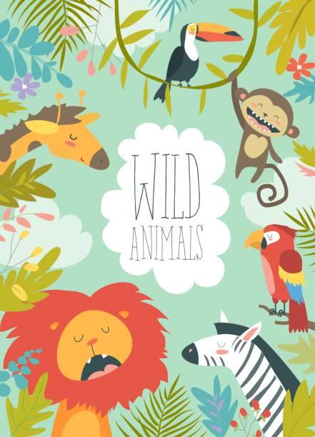 フレームの背景を作成する幸せなジャングルの動物 - 動物園点のイラスト素材/クリップアート素材/マンガ素材/アイコン素材