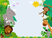 Happy jungle animals with copy space