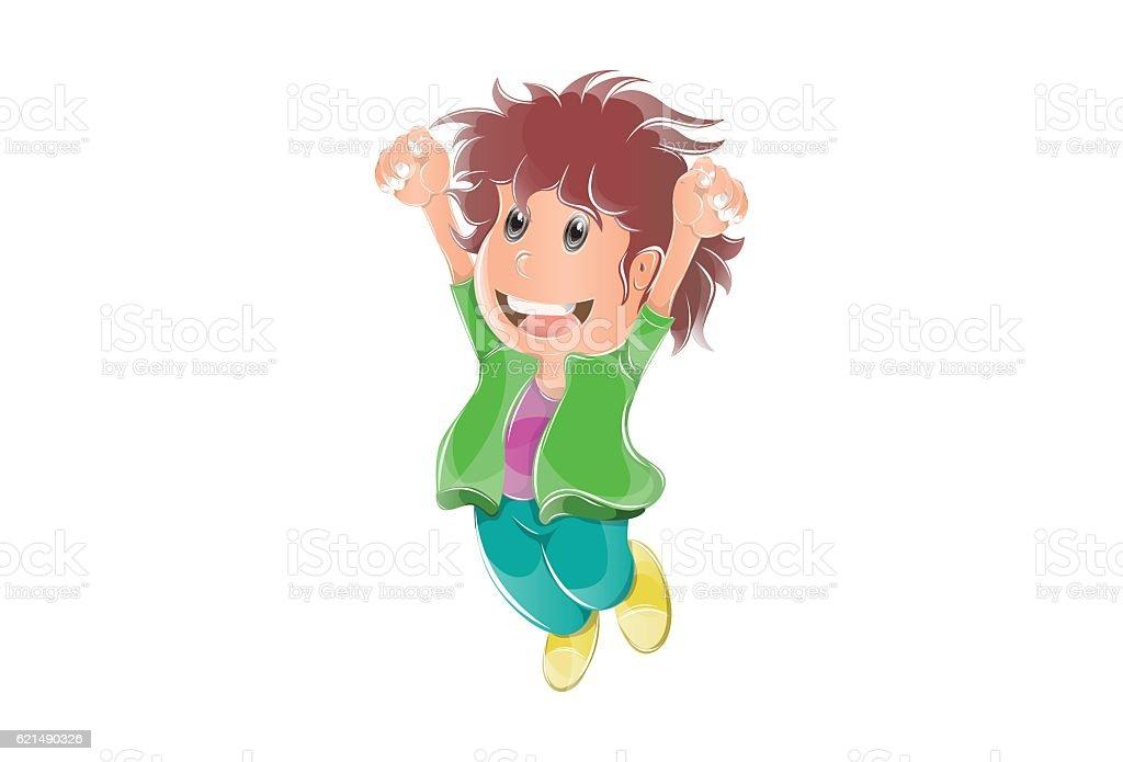 Happy Kid Boy jumping. Highly detailed vector illustration Lizenzfreies happy kid boy jumping highly detailed vector illustration stock vektor art und mehr bilder von glücklichsein