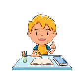 Happy child doing homework, studying, cute kid, education, school, holding pencil, thumbs up, desk, book, notebook, male, blond, cartoon character, vector illustration, isolated, white background
