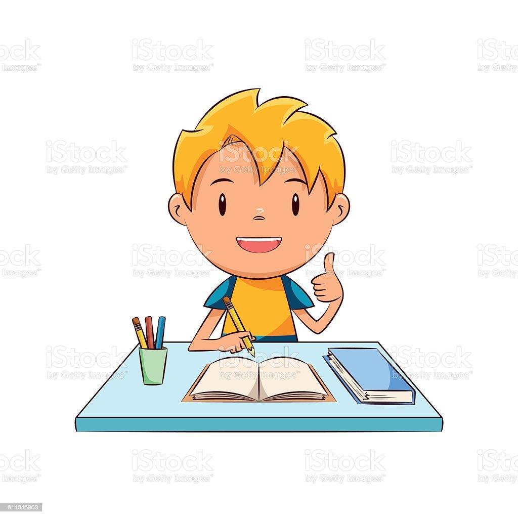 Happy kid homework vector art illustration