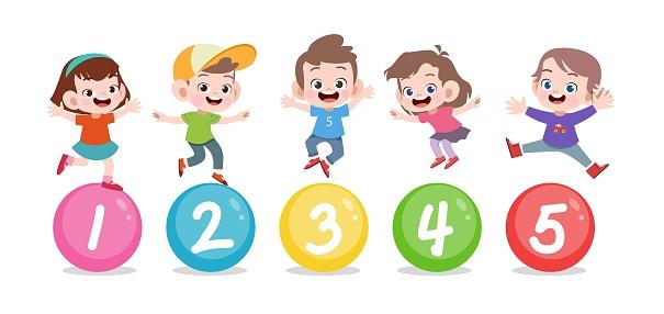 happy kid jump number vector illustration