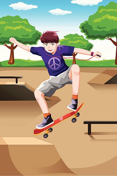 bildbanksillustrationer, clip art samt tecknat material och ikoner med happy kid playing skateboard - skatepark