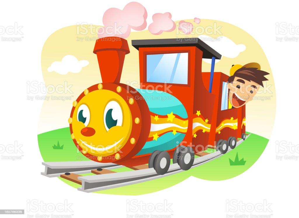Glückliche Kinder Reiten einen Spielzeug-Eisenbahn – Vektorgrafik