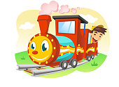 Happy Kid riding a Toy Train