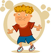 happy kid standing cartoon style vector illustration