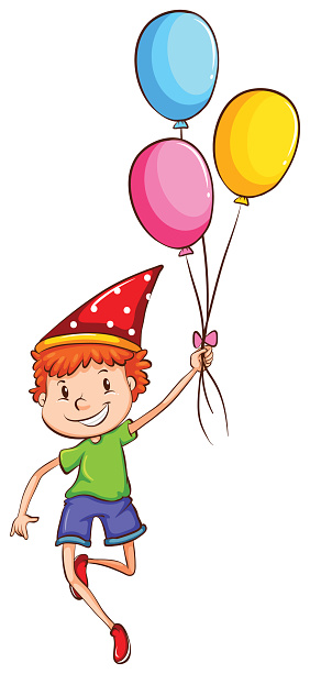 Happy kid with balloons