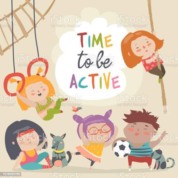 Happy kids and sport time to be active vector id1016262282?b=1&k=6&m=1016262282&s=612x612&h=c9jmzk8hhebcyjlfwvp45gswth8 w29mhstvxaxiflq=