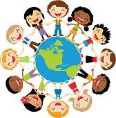 Happy kids around the globe.
