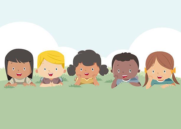 Happy kids around the globe Happy kids community clipart stock illustrations