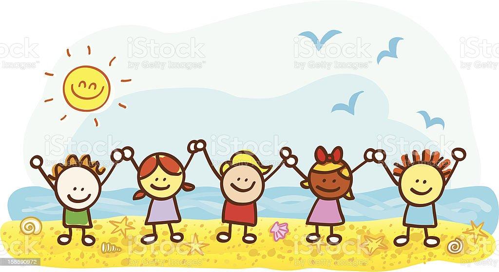 happy kids at summer holiday beach cartoon illustration vector art illustration
