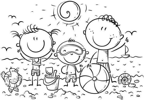 Happy kids at the seaside, outline, vector illustration vector art illustration