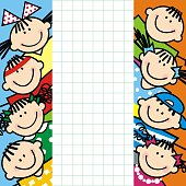 Children on square paper, banner, vector illustration. Group of girls and boys, smiling face. Banner with squared paper in the middle.