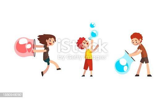 istock Happy Kids Blowing and Playing with Soap Bubbles Set Cartoon Vector Illustration 1330549292