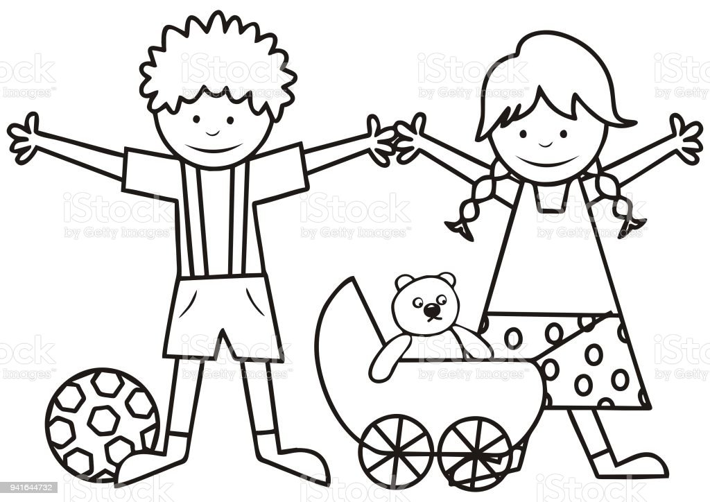 Ilustración de Niños Felices Niño Y Niña Con Juguetes Libro Para ...