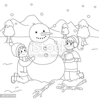 ᐈ Imagen De Edificio Feliz De Los Niños Un Muñeco De Nieve