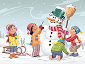 Four children in the meadow building a snowman with a scarf, a hat and a broom. It's snowing and in the background are snowy hills and trees. Vector illustration with space for text.